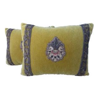 Mustard Velvet Appliqued Pillows with Metallic Trim - A Pair