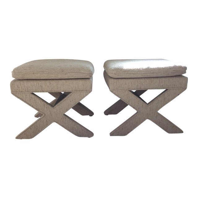 Billy Baldwin X-Shaped Ottomans - A Pair - Image 1 of 6