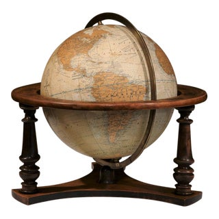 French Globe on Walnut Base