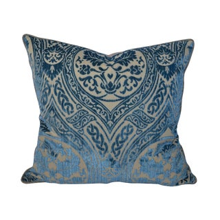 Scalamandré Blue Damask Silk Cut Velvet Pillow