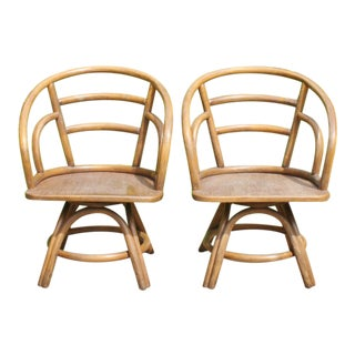 Brown Jordan Rattan Swivel Chairs - Pair