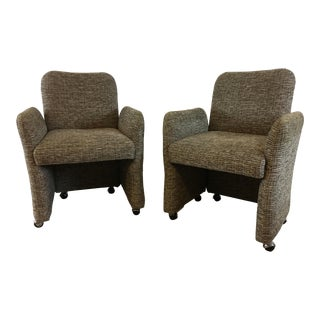Vintage Tweed Accent Chairs - A Pair