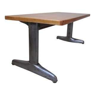 Vintage Institutional Style Maple & Steel Coffee Table