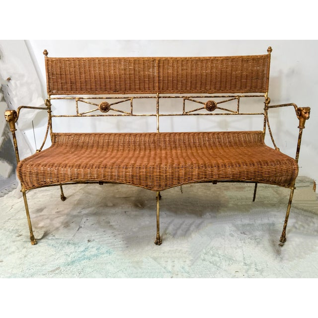 Neo-Classical Style Wicker Settee - Image 2 of 4