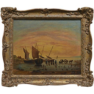 Continental School Painting, Sailing Ships at Shore
