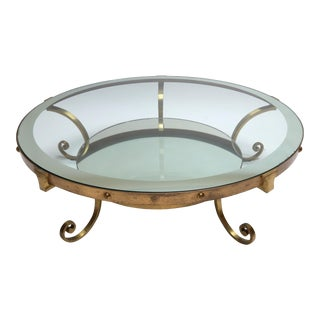 1950s Mexican Round Brass Coffee Table with Mirrored Glass