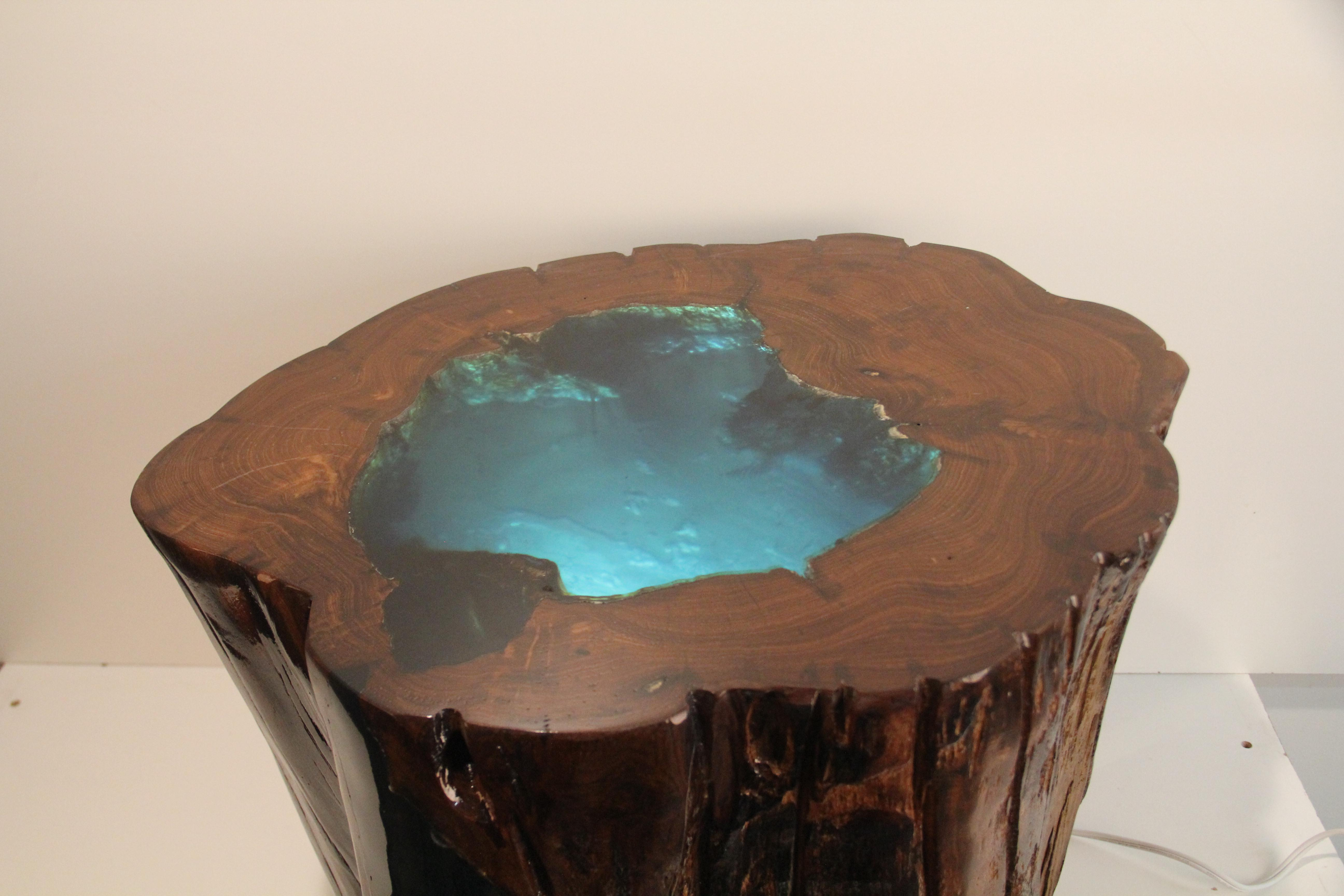 Illuminated Resin Filled Tree Stump Side Table Chairish
