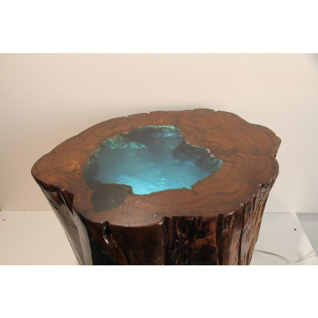 Illuminated resin filled tree stump side table chairish for How to make illuminated tree stumps