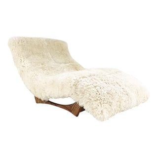 Forsyth Vintage Adrian Pearsall Style Wave Chaise Lounge Restored in Brazilian Sheepskin and Leather