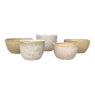 Zanesville Stoneage Modern and Homespun Stoneware Bowl Planters - Set of 5