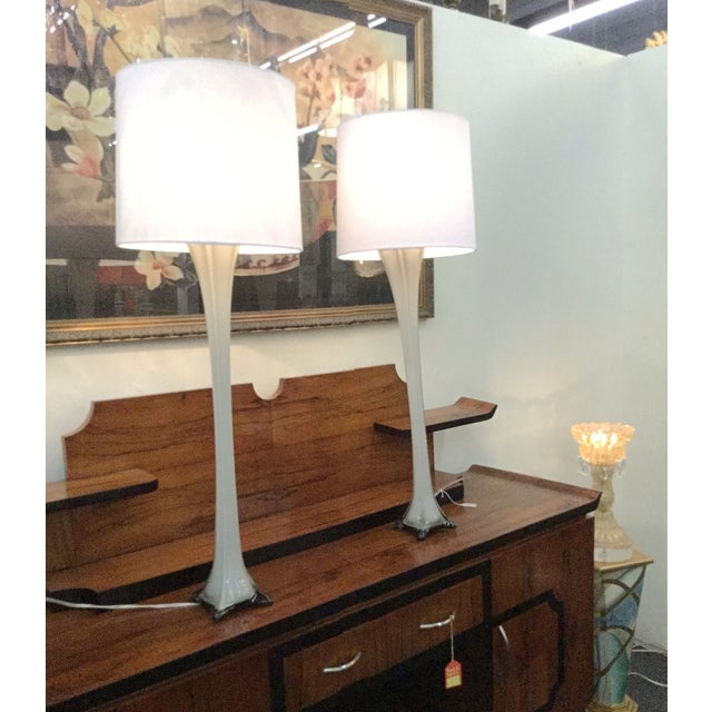 Vintage Murano Gray Glass Table Lamps - A Pair - Image 2 of 4