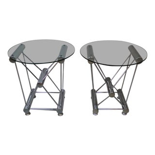 Atomic Base Chrome and Glass Side Tables - a Pair