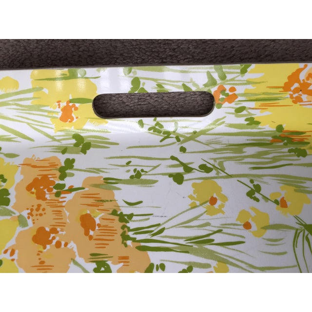 """Vintage D. Porthault 22""""Yellow Floral Tray - Image 4 of 4"""