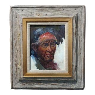Buck McCain -Apache Chief portrait - Beautiful Native American Oil Painting