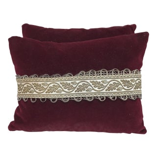 Red Velvet Pillows With Antique Trim - A Pair