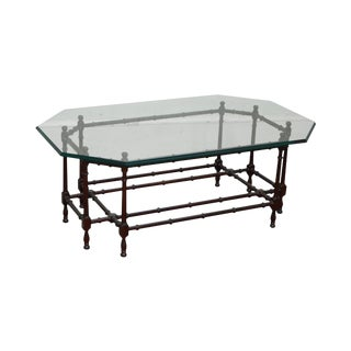 Quality Mahogany Faux Bamboo Base Glass Top Coffee Table