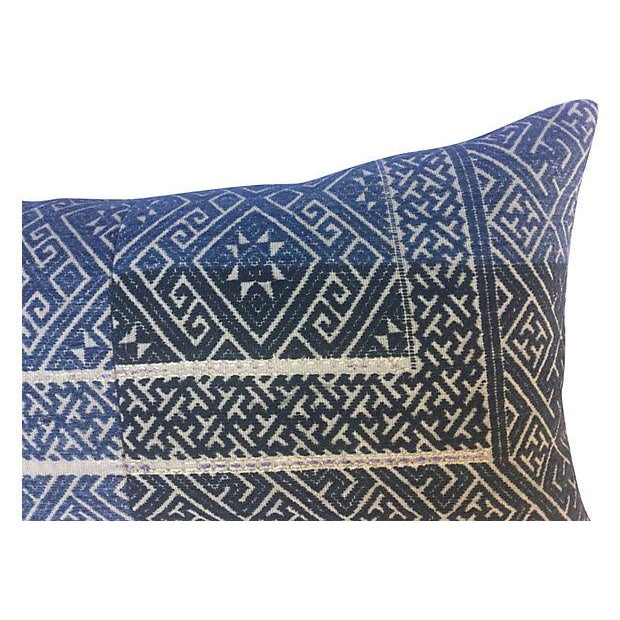 Chinese Indigo Wedding Quilt Pillow - Image 3 of 6