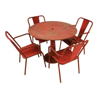 Fabulous French Mid-Century Industrial Steel Table and Six Chairs with Arms