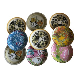 Assorted Floral Side Dish Plates - Set of 9