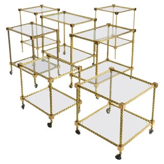 Outstanding Set of Seven Brass Carts