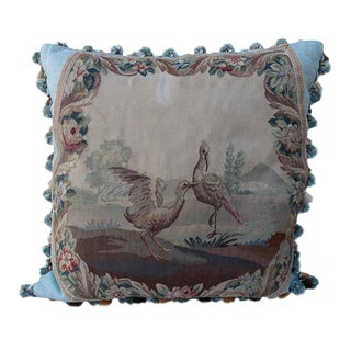 19th Century French Aubusson Pillow of Cranes