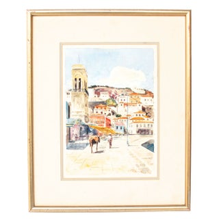 Greek Village Original Watercolor Painting
