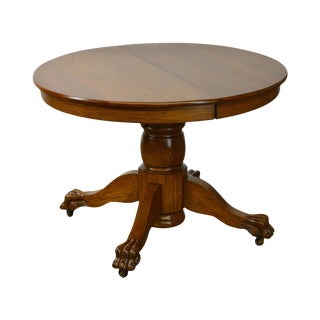"""Solid Oak Victorian Style 42"""" Round Claw Foot Extension Dining Table"""