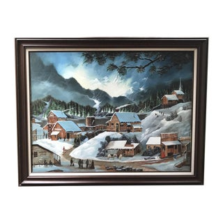 Lee Hirano Mountain Town in Winter Oil Painting