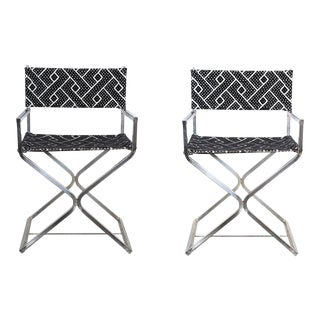 Vintage Re-Reupholstered Chrome Directors Chairs - A Pair