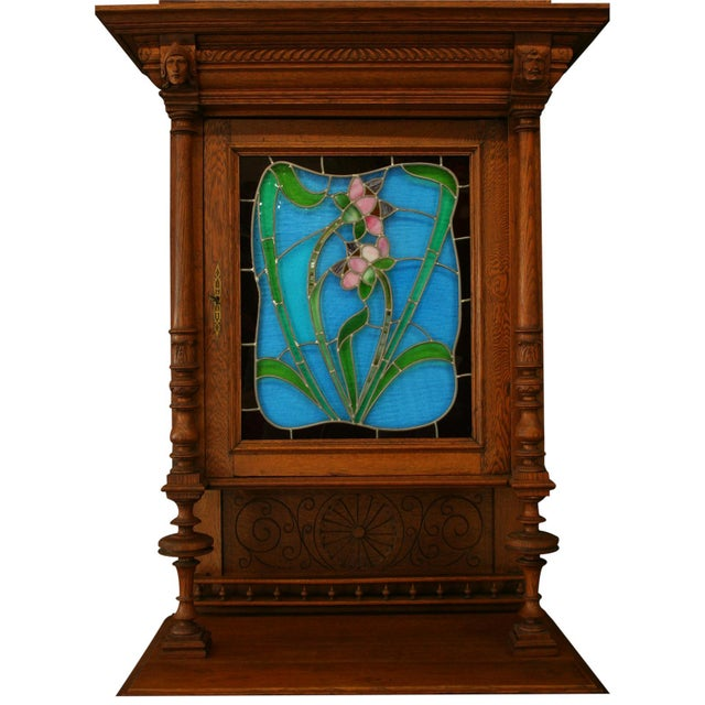 Antique Flemish Floral Stained Glass & Oak Hutch - Image 3 of 8