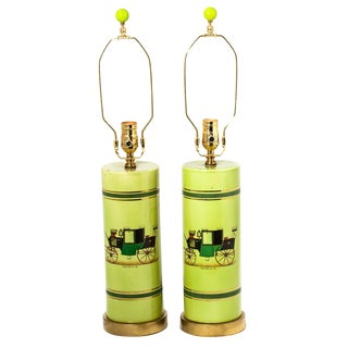 Coaching Cylindrical Table Lamps - A Pair