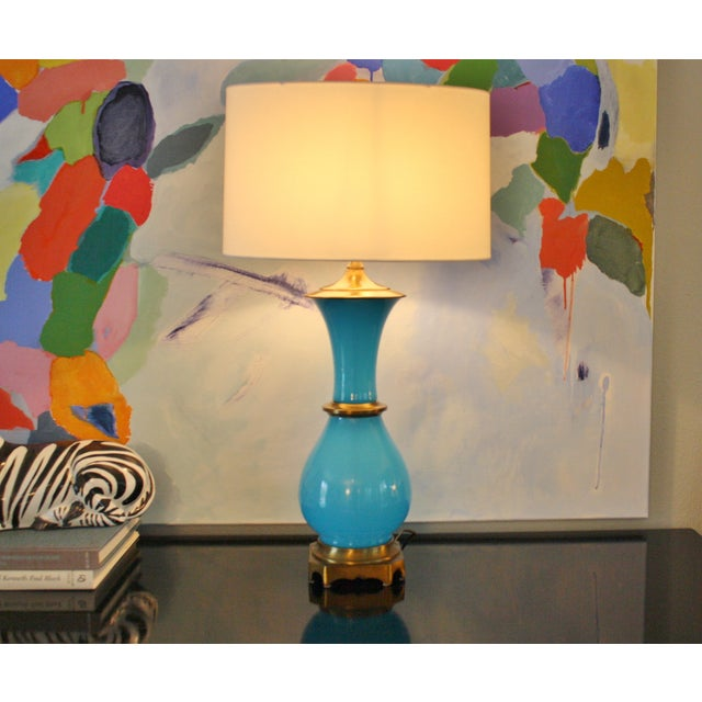 Vintage Murano Opaline Blue Lamp - Image 3 of 11