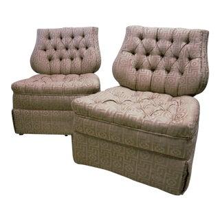 Regency Style Lyre Back Dorothy Draper Era Slipper Chairs - A Pair