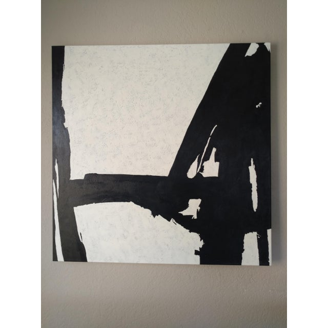 Hand Painted Large Black & White Abstract Painting - Image 9 of 11
