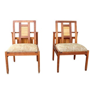 Asian / Arts and Crafts Custom Teak Chairs - a Pair
