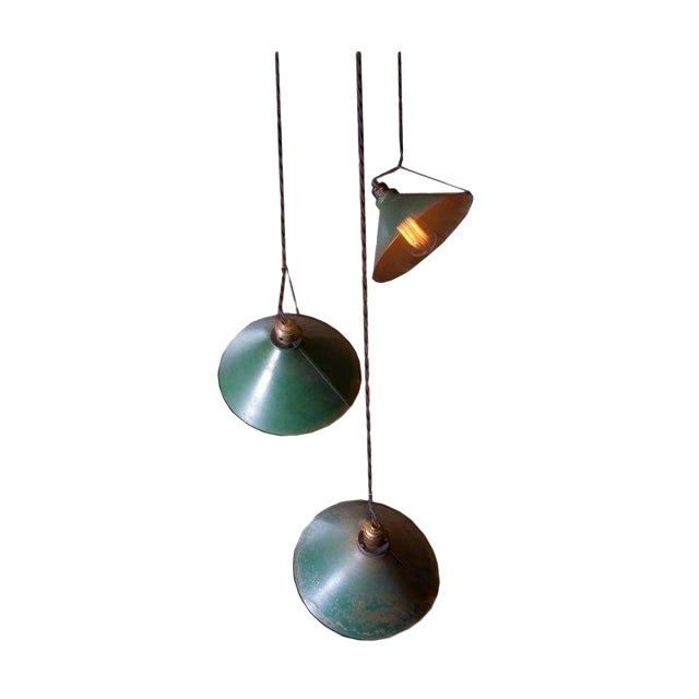 Adjustable Vintage Pendant Lights - Set of 3 - Image 1 of 7