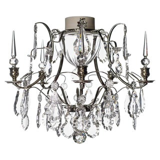 Baroque 5 Arm Nickel Obelisque Chandelier