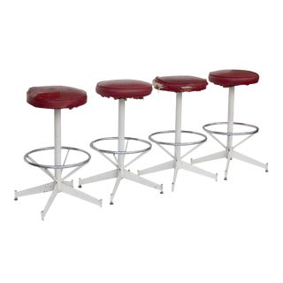 Red Swivel Barstools - Set of 4