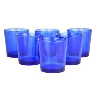 Vintage Cobalt Drinking Glasses - Set of 6