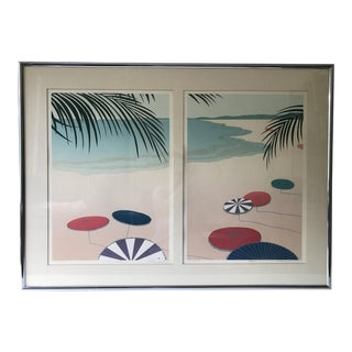 Parasols II & I Diptych Signed Lithograph