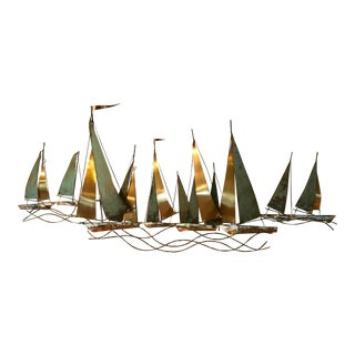 Mid-Cenurty Modern C.Jere Large Sailboat Brutalist Metal Wall Sculpture