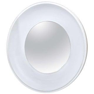 Very Impressive Custom-Made Round White Plaster Mirror