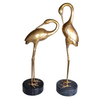 Bronze Crane Sculptures on Marble Base - A Pair