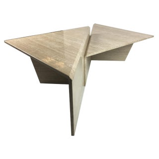Large Sculptural Italian Travertine Bi-Level Coffee Table