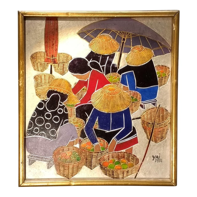 Image of 1970 Asian Signed WoodEtched Framed Wall Art