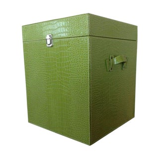 Lime Green Faux Leather Crocodile Trunk