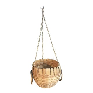 French Natural Woven Wicker Hanging Basket Planter