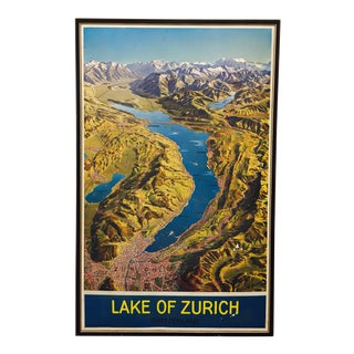 Vintage Swiss Map of Zurich Travel Poster