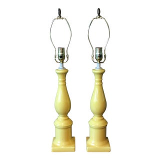 Vintage Yellow Table Lamps - A Pair