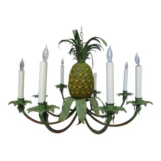 Transitional Hand Painted Pineapple Chandelier
